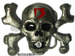 SKULL, CROSSBONES & 8 POOL BALL BELT BUCKLE + display stand